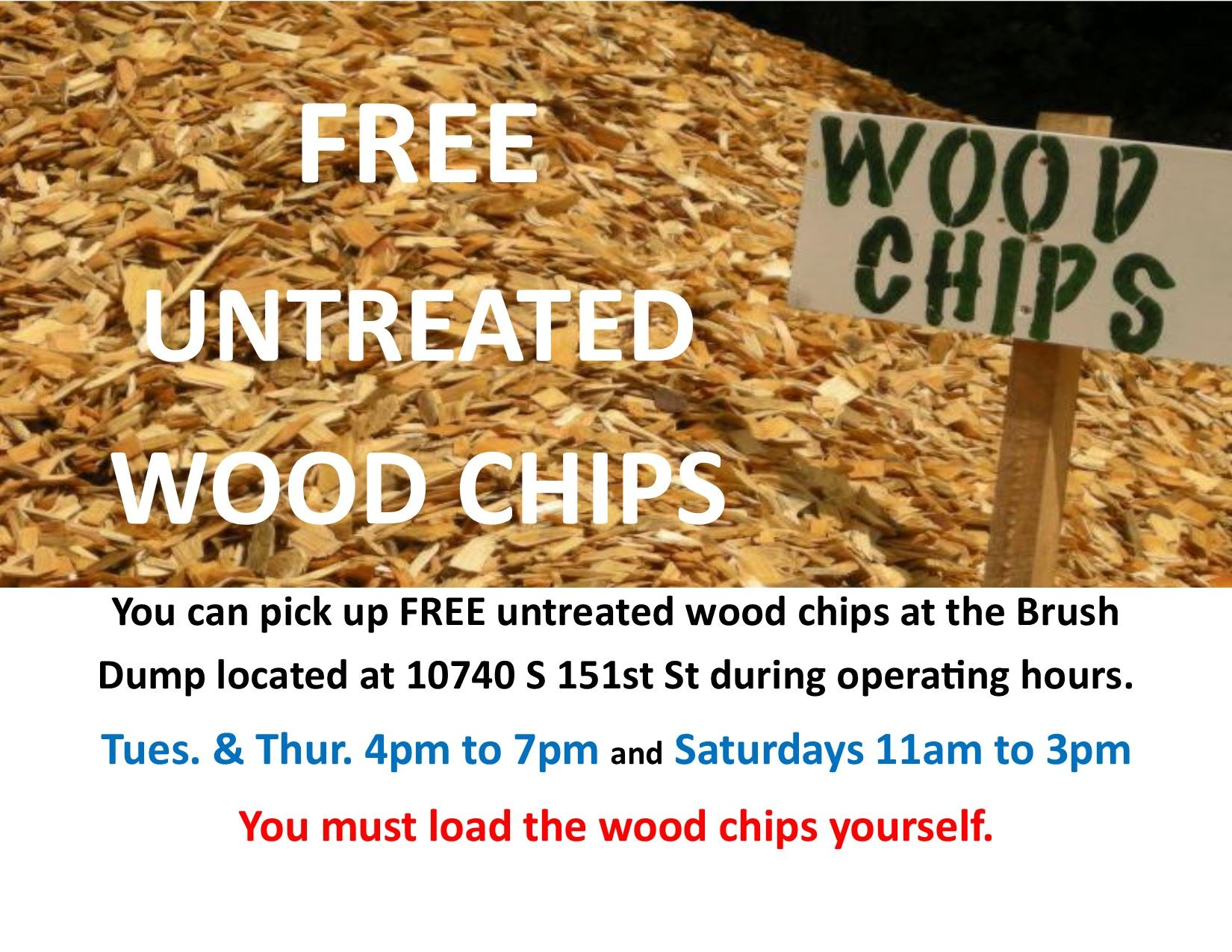 Free Untreated Wood Chips at the Brush Dump Flyer