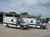 2 Clearwater ambulances parked in front of the EVS building