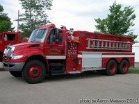 A large red fire truck.
